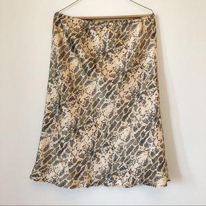 Women's L Vintage Silk Snake Print Midi Skirt
